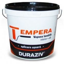 Vopsea lavabila alba pentru interior Duraziv Tempera 15L