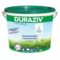 Vopsea lavabila alba pentru interior Duraziv Ecolabel fara miros 15L
